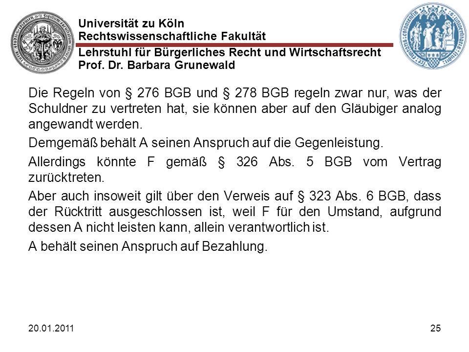 Universität zu Köln Rechtswissenschaftliche Fakultät Lehrstuhl für Bürgerliches Recht und Wirtschaftsrecht Prof. Dr. Barbara Grunewald 20.01.201125 Di