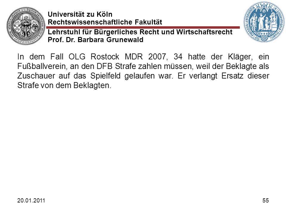 Universität zu Köln Rechtswissenschaftliche Fakultät Lehrstuhl für Bürgerliches Recht und Wirtschaftsrecht Prof. Dr. Barbara Grunewald 20.01.201155 In