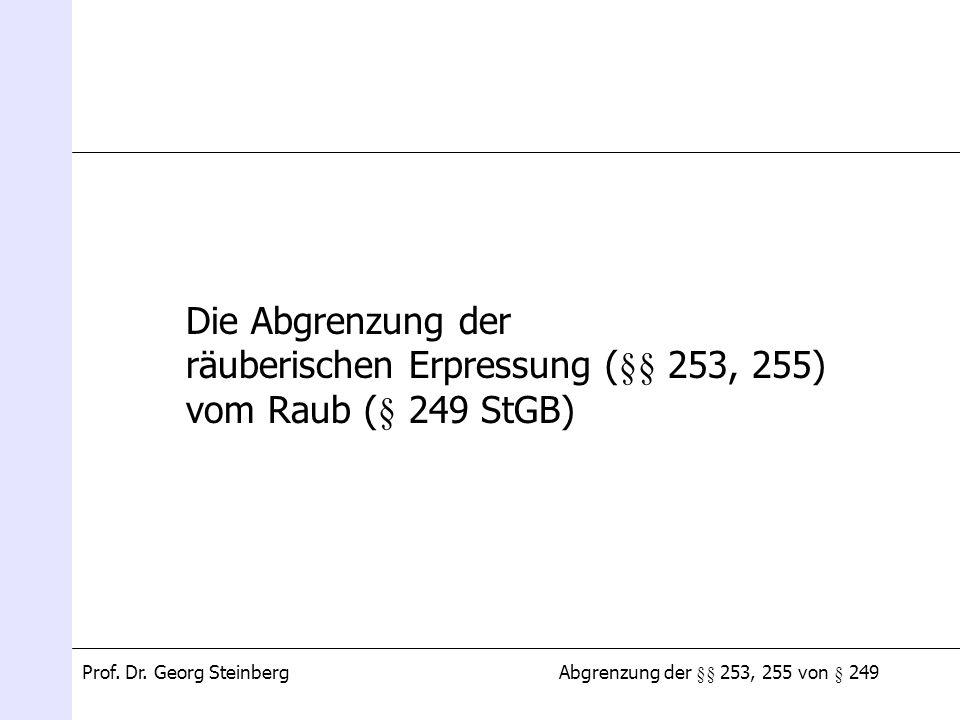 Abgrenzung der §§ 253, 255 von § 249Prof. Dr. Georg Steinberg Die Abgrenzung der räuberischen Erpressung (§§ 253, 255) vom Raub (§ 249 StGB)