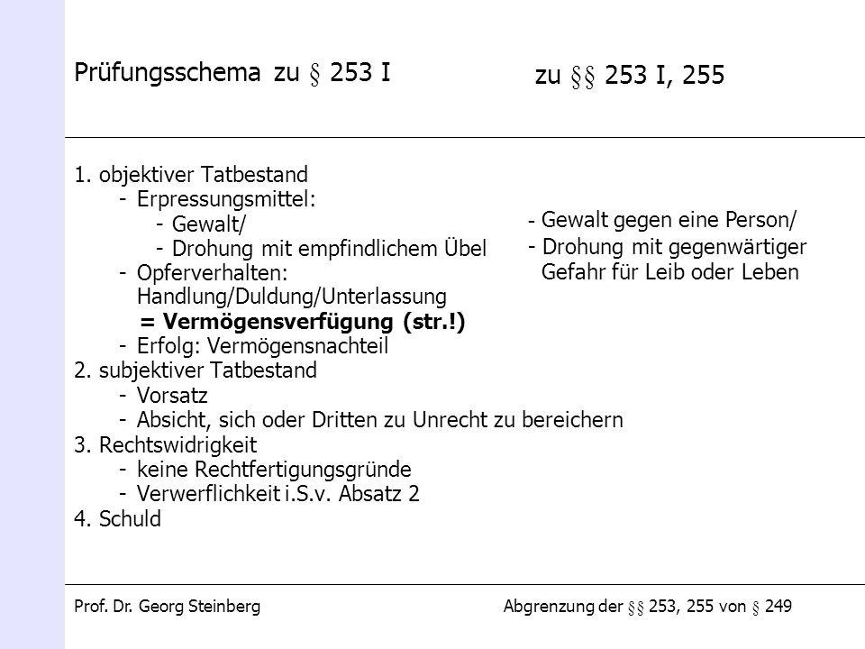 Abgrenzung der §§ 253, 255 von § 249Prof. Dr. Georg Steinberg Prüfungsschema zu § 253 I 1. objektiver Tatbestand -Erpressungsmittel: -Gewalt/ -Drohung