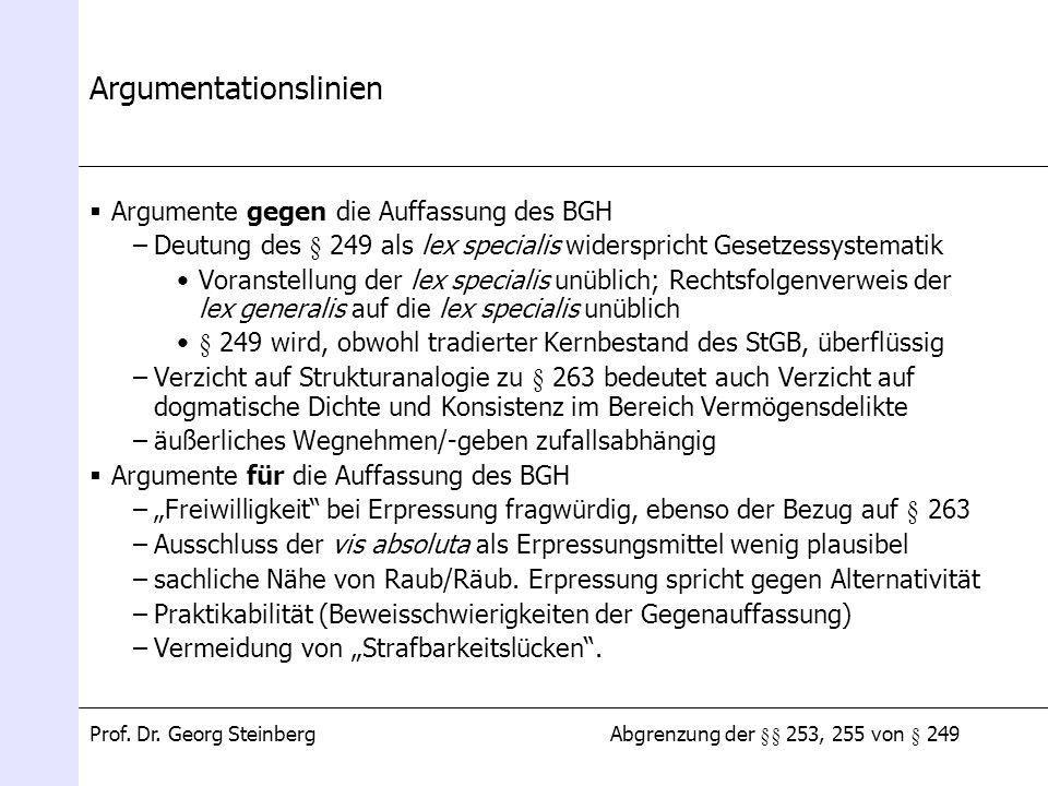 Abgrenzung der §§ 253, 255 von § 249Prof. Dr. Georg Steinberg Argumentationslinien Argumente gegen die Auffassung des BGH –Deutung des § 249 als lex s