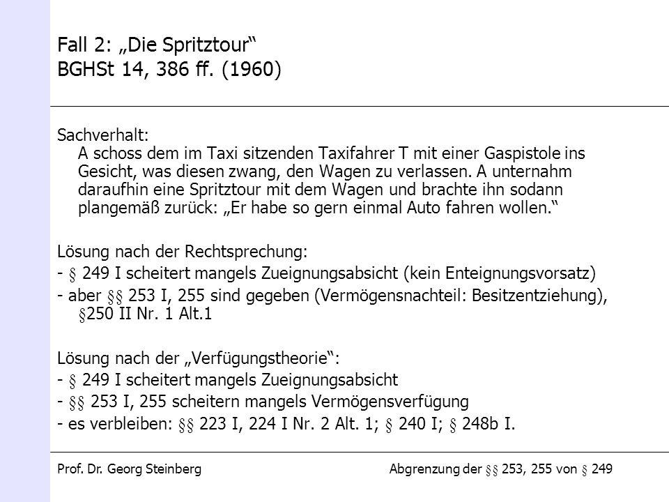 Abgrenzung der §§ 253, 255 von § 249Prof. Dr. Georg Steinberg Fall 2: Die Spritztour BGHSt 14, 386 ff. (1960) Sachverhalt: A schoss dem im Taxi sitzen