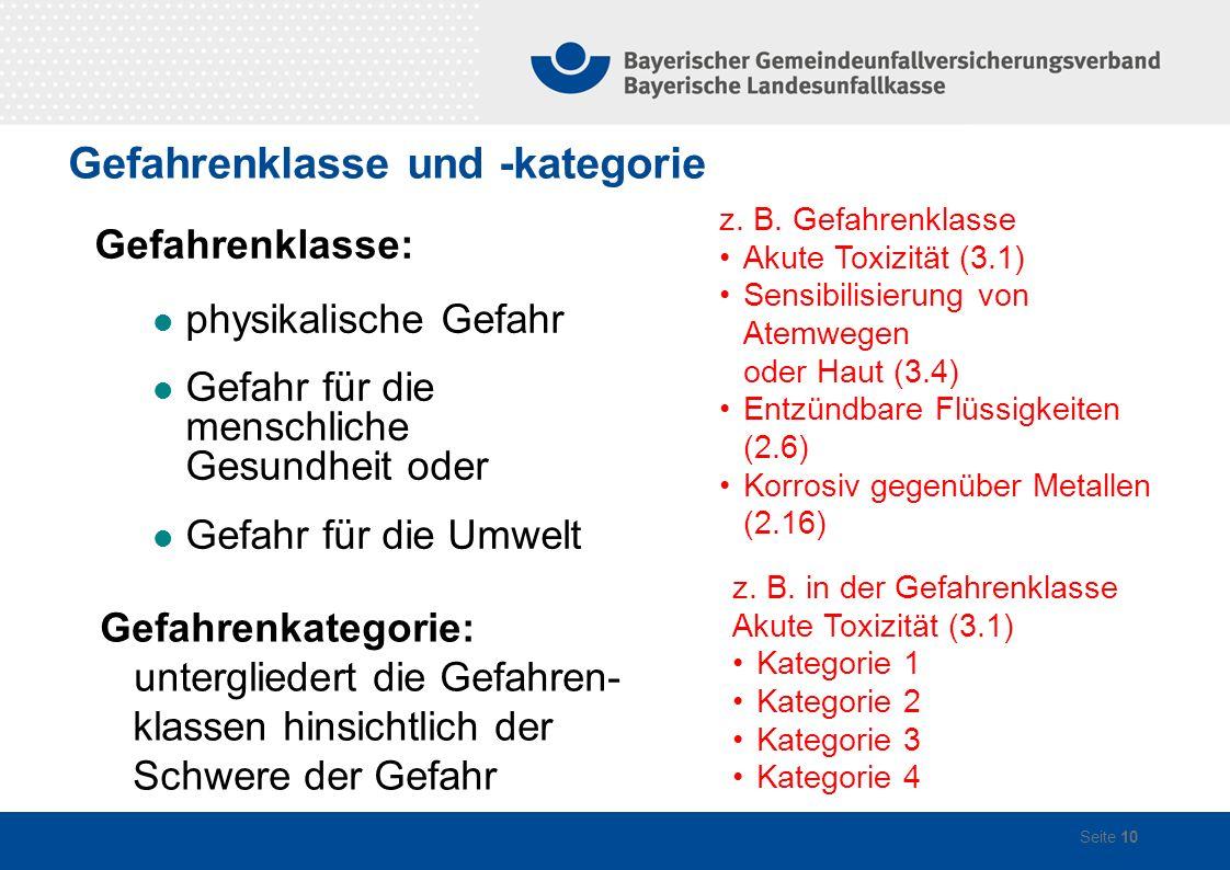 Gefahrenklasse und -kategorie Seite 10 Gefahrenklasse: physikalische Gefahr Gefahr für die menschliche Gesundheit oder Gefahr für die Umwelt z.
