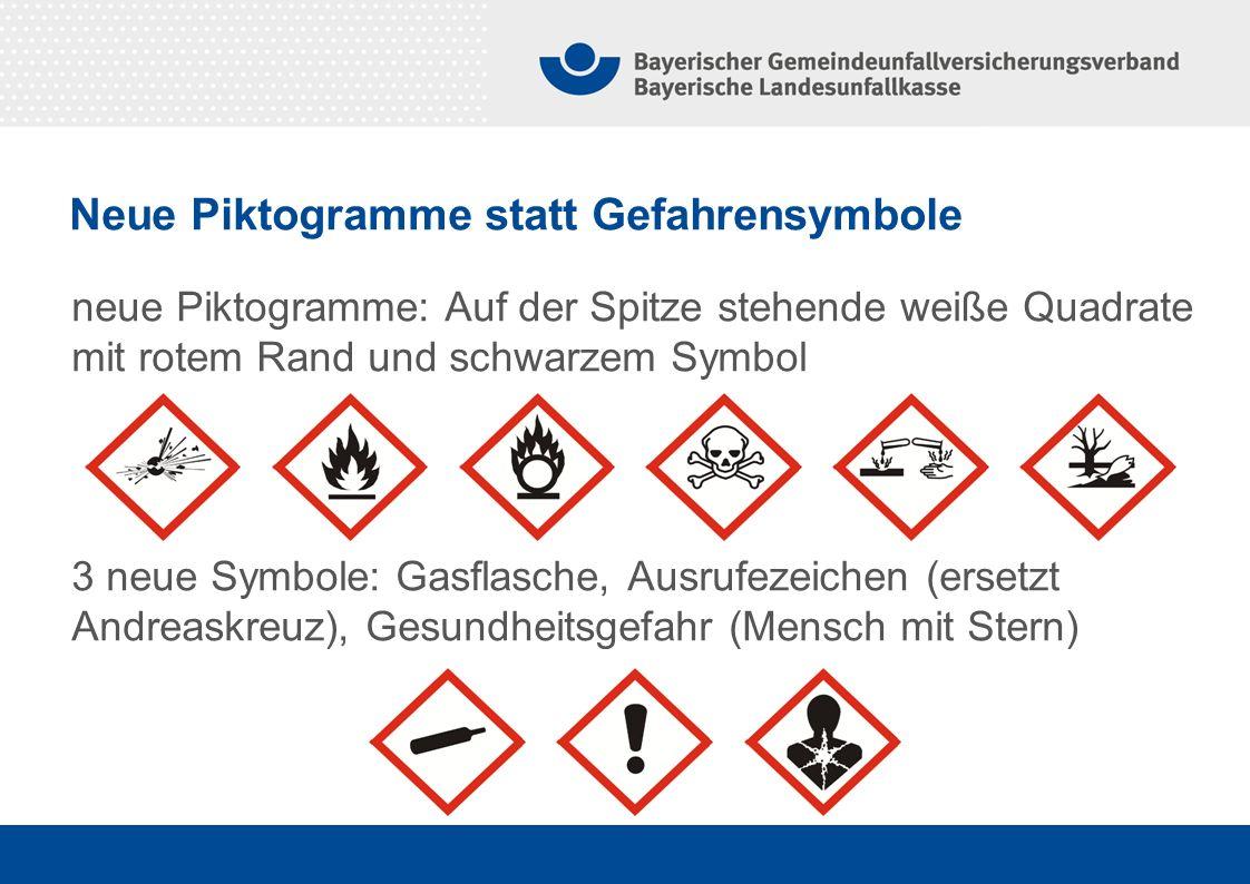 neue Piktogramme: Auf der Spitze stehende weiße Quadrate mit rotem Rand und schwarzem Symbol 3 neue Symbole: Gasflasche, Ausrufezeichen (ersetzt Andre