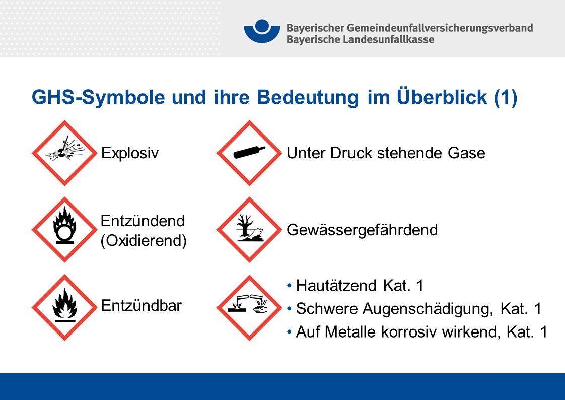 GHS-Symbole und ihre Bedeutung im Überblick (1) Explosiv Entzündbar Entzündend (Oxidierend) Unter Druck stehende Gase Gewässergefährdend Hautätzend Ka