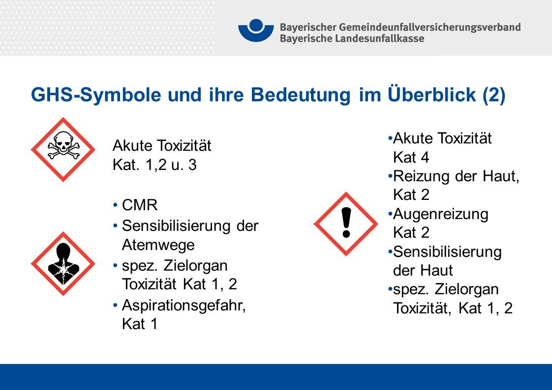 GHS-Symbole und ihre Bedeutung im Überblick (2) Akute Toxizität Kat. 1,2 u. 3 CMR Sensibilisierung der Atemwege spez. Zielorgan Toxizität Kat 1, 2 Asp