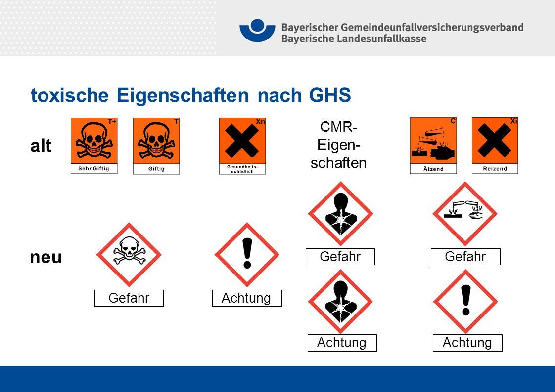 Gefahr neu alt Achtung Gefahr Achtung CMR- Eigen- schaften toxische Eigenschaften nach GHS