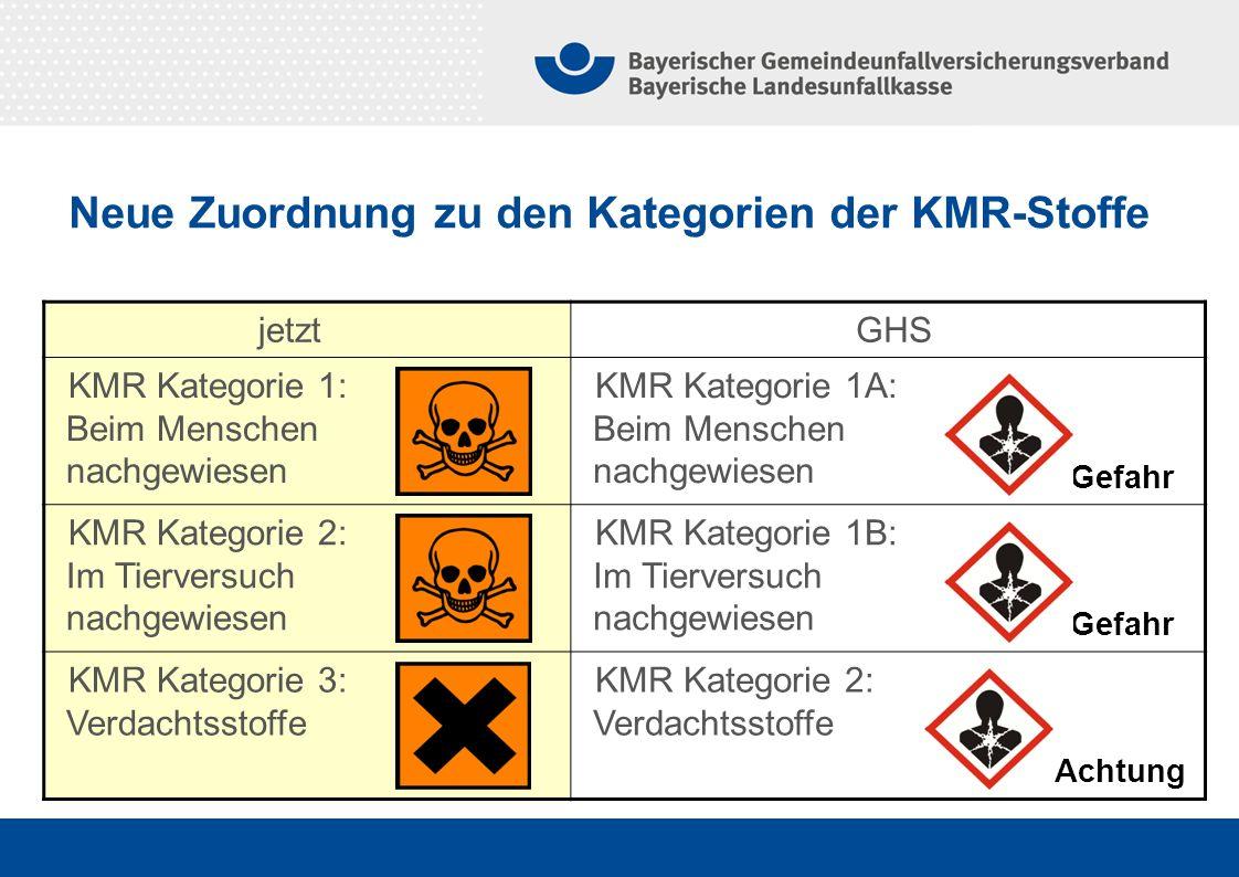 jetztGHS KMR Kategorie 1: Beim Menschen nachgewiesen KMR Kategorie 1A: Beim Menschen nachgewiesen KMR Kategorie 2: Im Tierversuch nachgewiesen KMR Kat