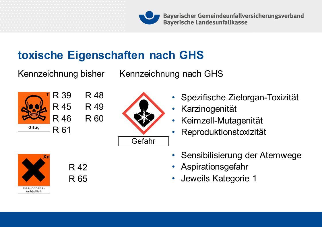 Kennzeichnung bisher Kennzeichnung nach GHS Gefahr Spezifische Zielorgan-Toxizität Karzinogenität Keimzell-Mutagenität Reproduktionstoxizität R 39R 48
