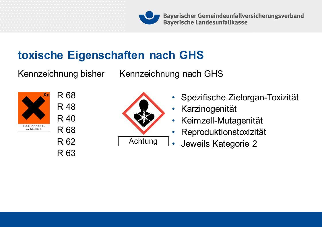 Kennzeichnung bisher Kennzeichnung nach GHS Achtung Spezifische Zielorgan-Toxizität Karzinogenität Keimzell-Mutagenität Reproduktionstoxizität Jeweils Kategorie 2 R 68 R 48 R 40 R 68 R 62 R 63 toxische Eigenschaften nach GHS