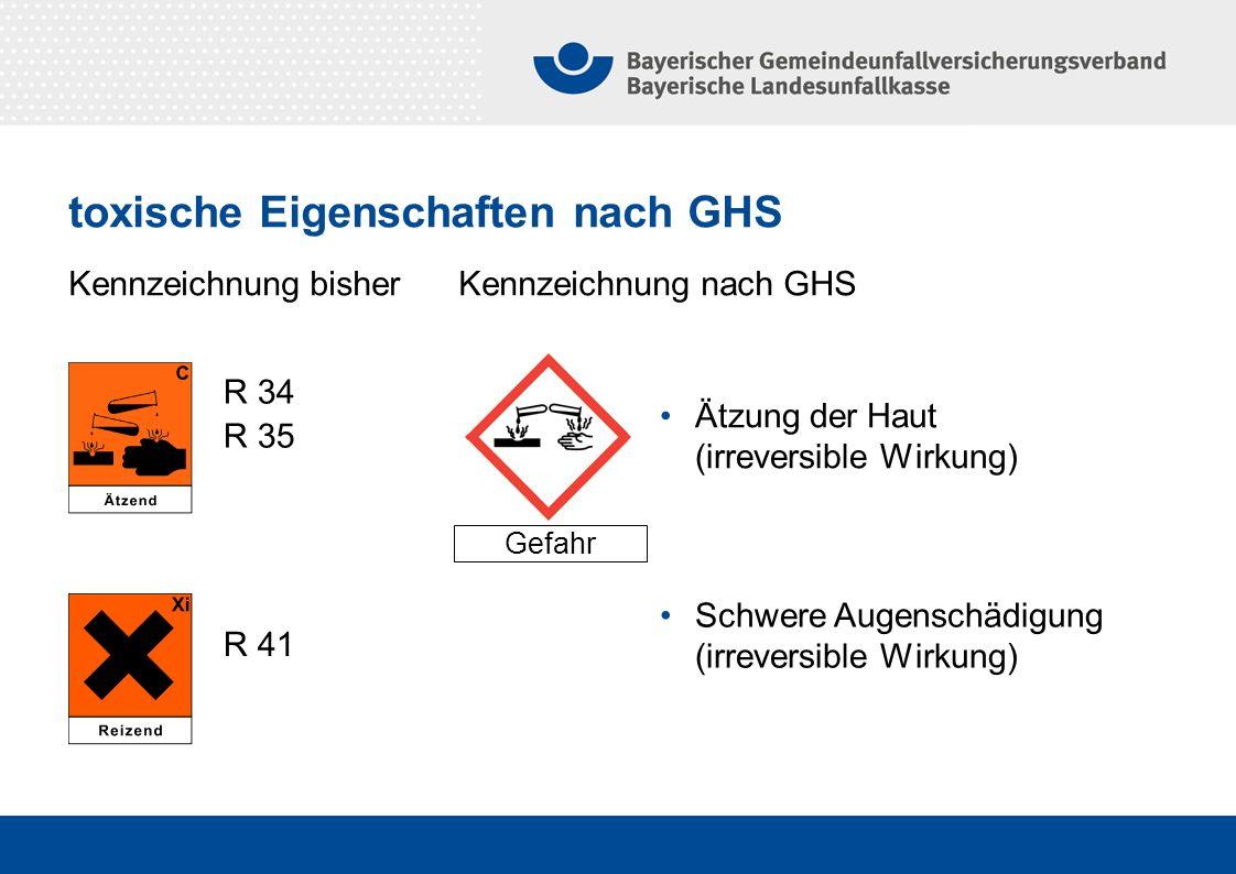 Kennzeichnung bisher Kennzeichnung nach GHS Gefahr Ätzung der Haut (irreversible Wirkung) R 34 R 35 R 41 Schwere Augenschädigung (irreversible Wirkung