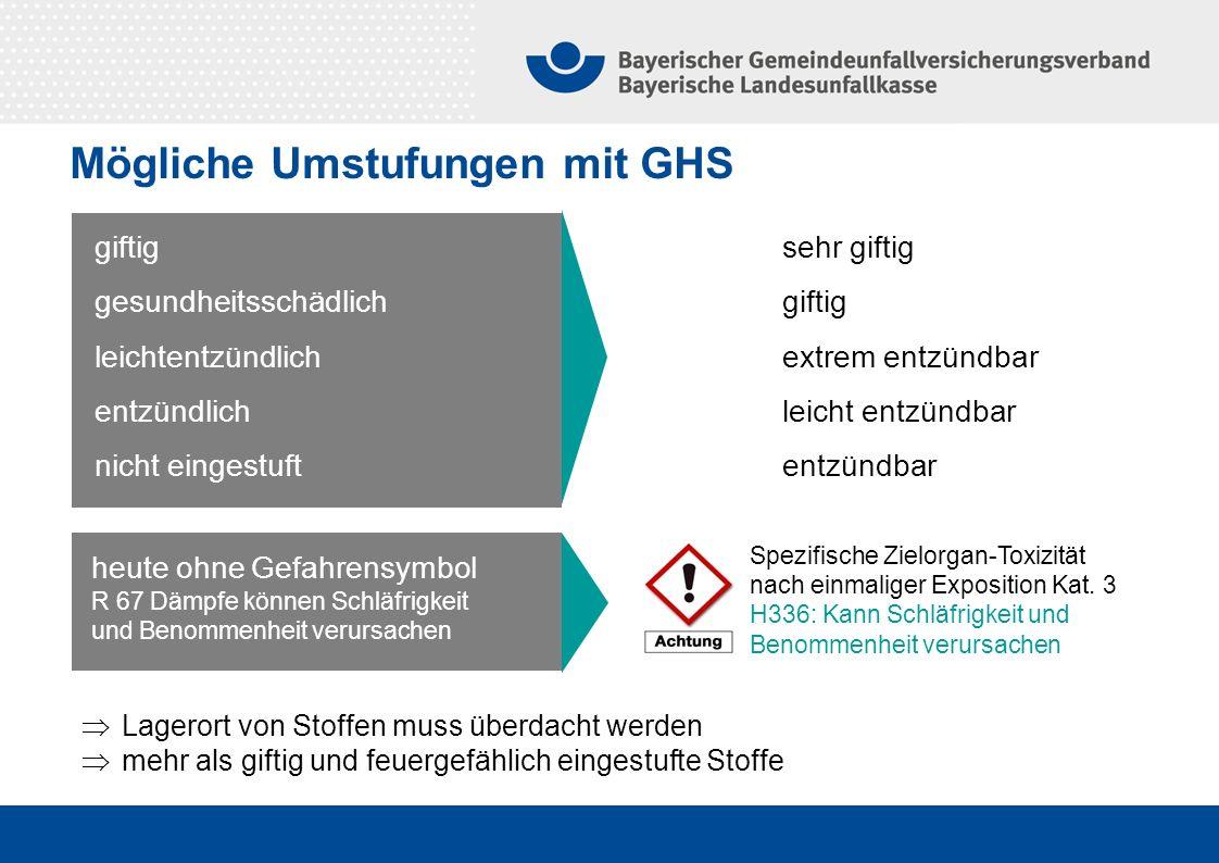 Mögliche Umstufungen mit GHS giftig gesundheitsschädlich leichtentzündlich entzündlich nicht eingestuft sehr giftig giftig extrem entzündbar leicht en
