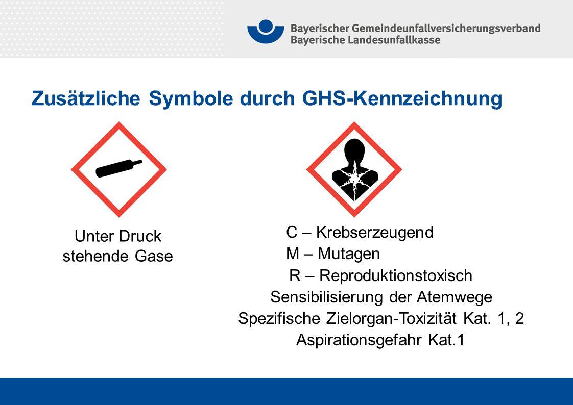 Zusätzliche Symbole durch GHS-Kennzeichnung Unter Druck stehende Gase C – Krebserzeugend. M – Mutagen. R – Reproduktionstoxisch Sensibilisierung der A