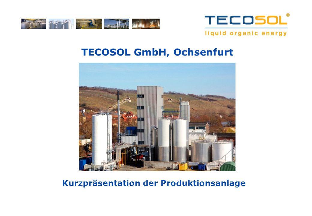 Ausgangssituation Mit 45 Mitarbeitern betreibt die TECOSOL am Standort Ochsenfurt/Bayern eine Biodiesel- und Raffinationsanlage mit einer Kapazität von 150.000 t pro Jahr Durch den nachhaltigen Rohstoffmix reduziert sich die Kapazität aktuell auf ca.