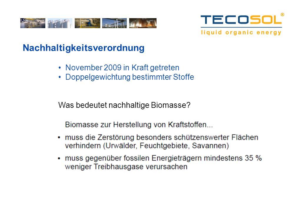 Nachhaltigkeitsverordnung November 2009 in Kraft getreten Doppelgewichtung bestimmter Stoffe Was bedeutet nachhaltige Biomasse?