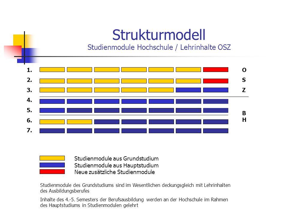 Strukturmodell Studienmodule Hochschule / Lehrinhalte OSZ Studienmodule aus Grundstudium OSZOSZ BHBH Studienmodule aus Hauptstudium Neue zusätzliche S