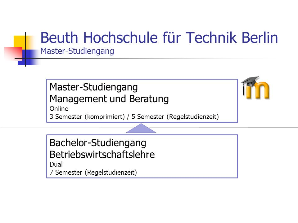 Beuth Hochschule für Technik Berlin Master-Studiengang Bachelor-Studiengang Betriebswirtschaftslehre Dual 7 Semester (Regelstudienzeit) Master-Studien