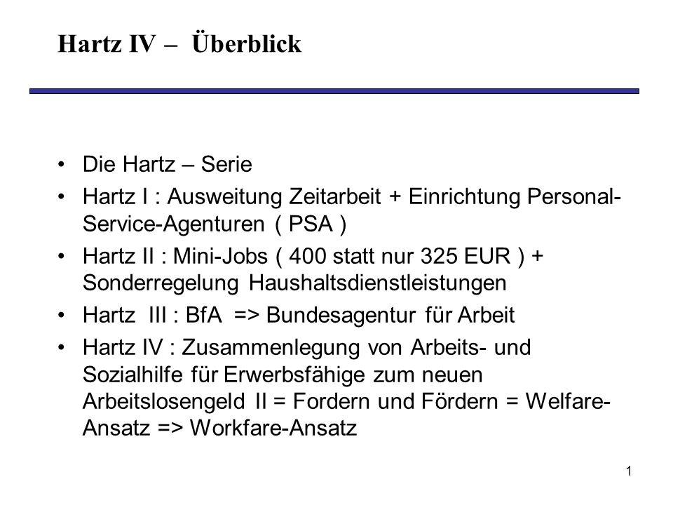 1 Hartz IV – Überblick Die Hartz – Serie Hartz I : Ausweitung Zeitarbeit + Einrichtung Personal- Service-Agenturen ( PSA ) Hartz II : Mini-Jobs ( 400