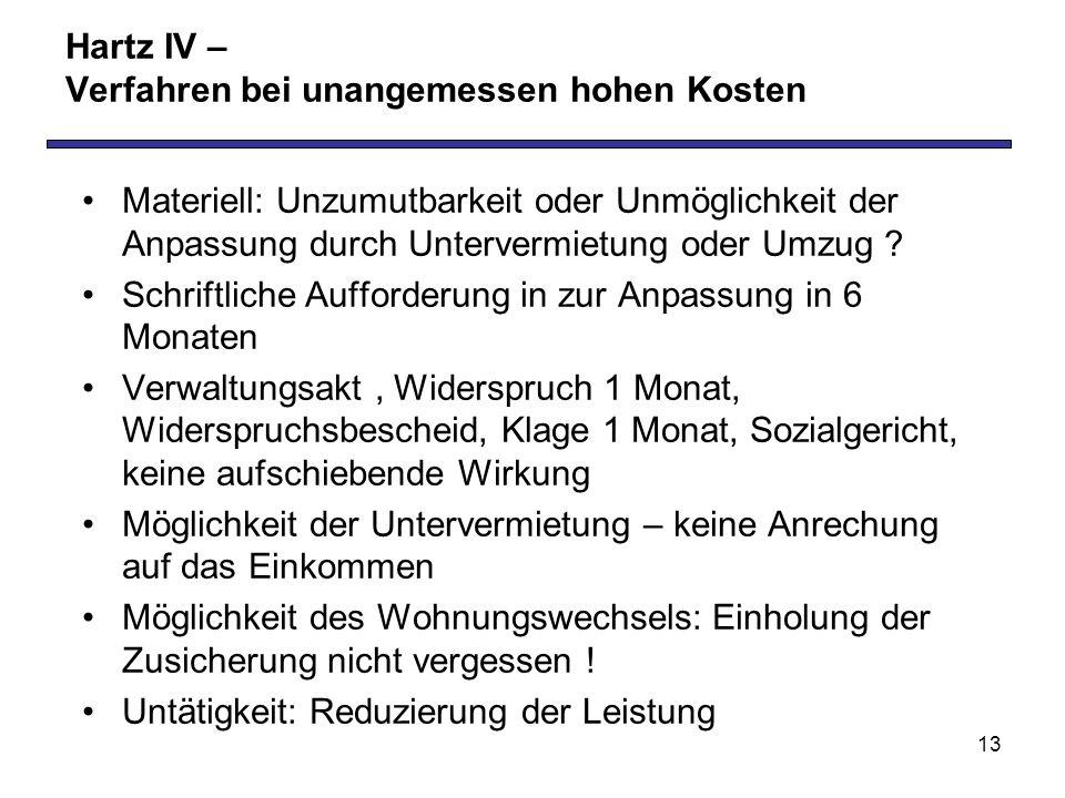 13 Hartz IV – Verfahren bei unangemessen hohen Kosten Materiell: Unzumutbarkeit oder Unmöglichkeit der Anpassung durch Untervermietung oder Umzug .
