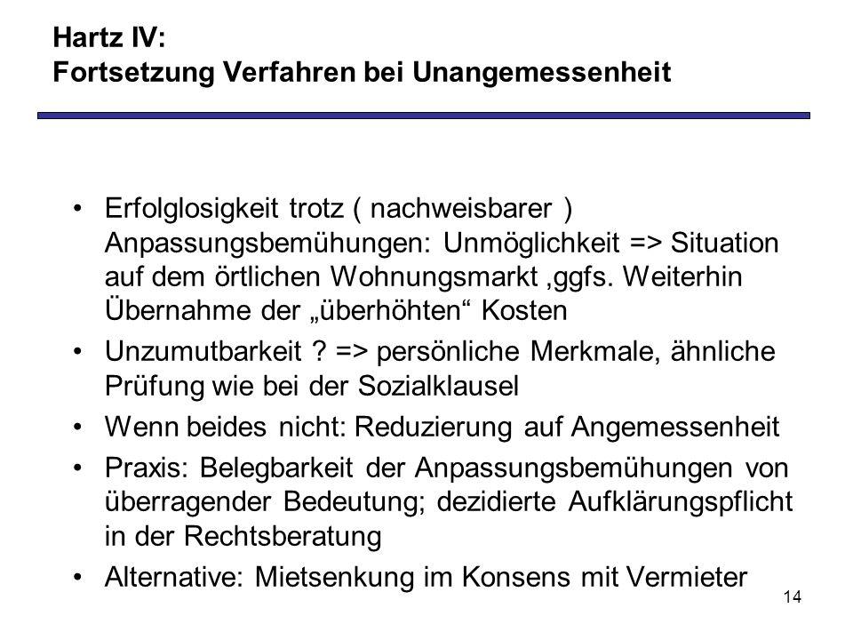 14 Hartz IV: Fortsetzung Verfahren bei Unangemessenheit Erfolglosigkeit trotz ( nachweisbarer ) Anpassungsbemühungen: Unmöglichkeit => Situation auf dem örtlichen Wohnungsmarkt,ggfs.
