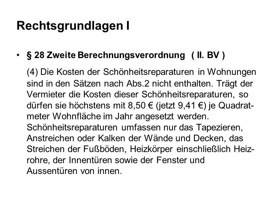 Rechtsgrundlagen I § 28 Zweite Berechnungsverordnung ( II.