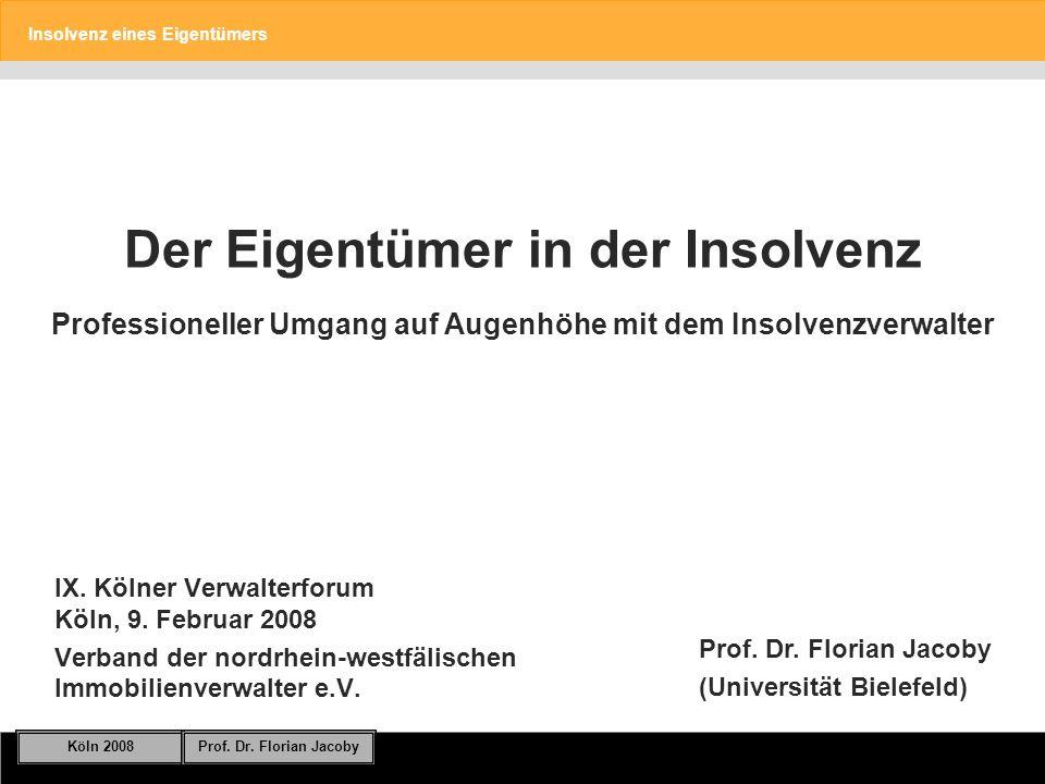 Insolvenz eines Eigentümers Köln 2008Prof.Dr. Florian Jacoby Folie 12 Masseverbindlichkeiten.