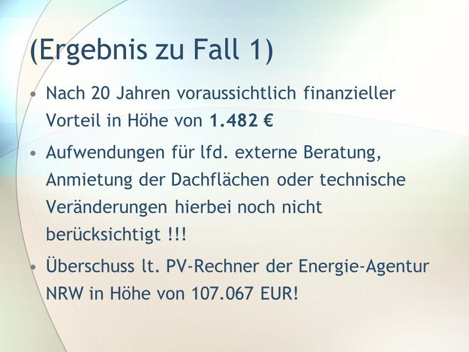 (Ergebnis zu Fall 1) Nach 20 Jahren voraussichtlich finanzieller Vorteil in Höhe von 1.482 Aufwendungen für lfd. externe Beratung, Anmietung der Dachf
