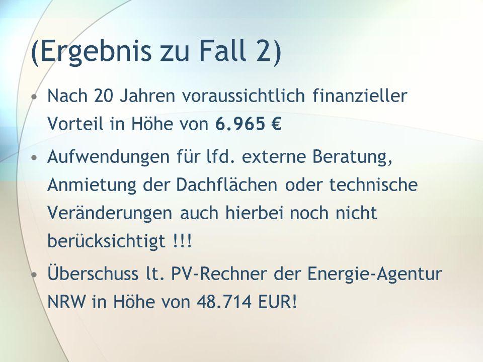 (Ergebnis zu Fall 2) Nach 20 Jahren voraussichtlich finanzieller Vorteil in Höhe von 6.965 Aufwendungen für lfd. externe Beratung, Anmietung der Dachf