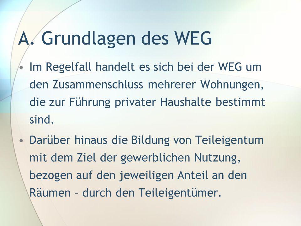 A. Grundlagen des WEG Im Regelfall handelt es sich bei der WEG um den Zusammenschluss mehrerer Wohnungen, die zur Führung privater Haushalte bestimmt