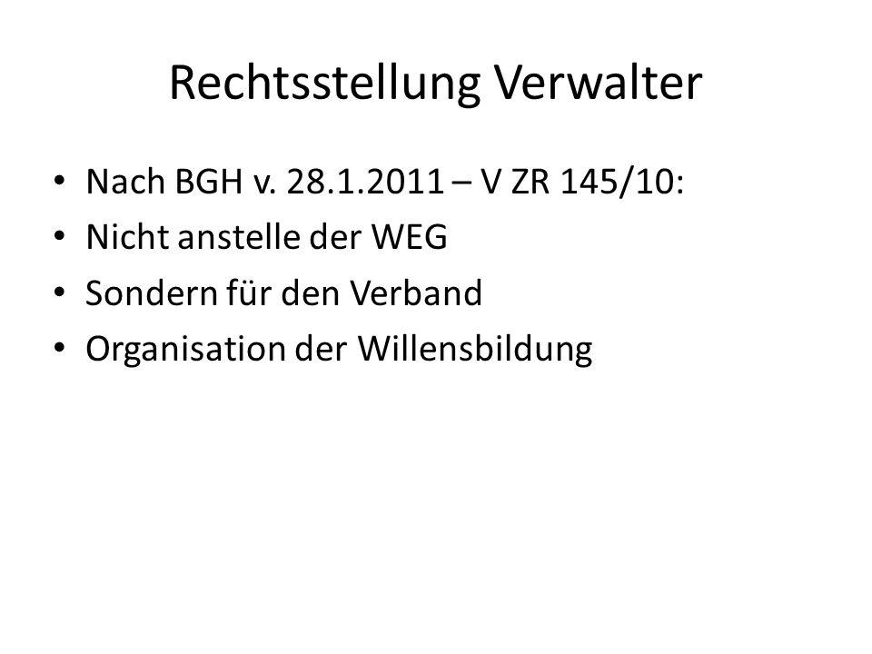 Rechtsstellung Verwalter Nach BGH v. 28.1.2011 – V ZR 145/10: Nicht anstelle der WEG Sondern für den Verband Organisation der Willensbildung