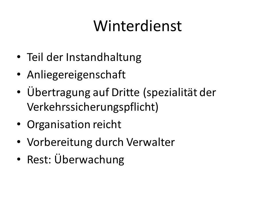 Winterdienst Teil der Instandhaltung Anliegereigenschaft Übertragung auf Dritte (spezialität der Verkehrssicherungspflicht) Organisation reicht Vorber