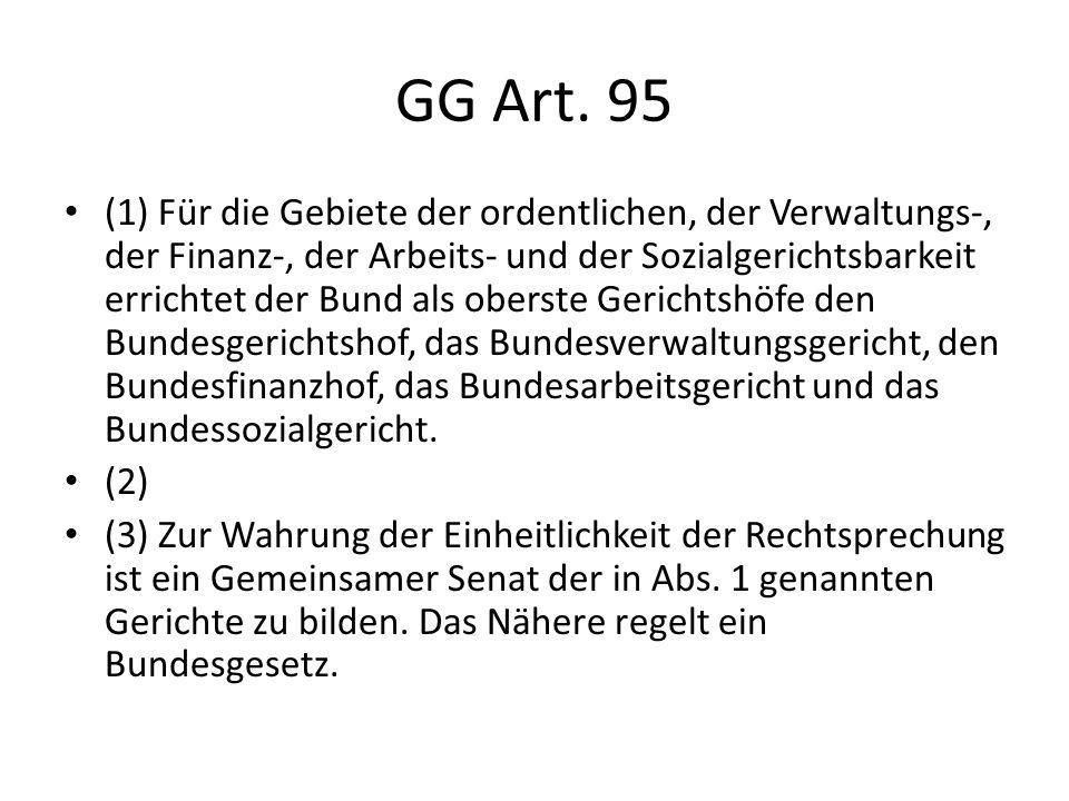 GG Art. 95 (1) Für die Gebiete der ordentlichen, der Verwaltungs-, der Finanz-, der Arbeits- und der Sozialgerichtsbarkeit errichtet der Bund als ober