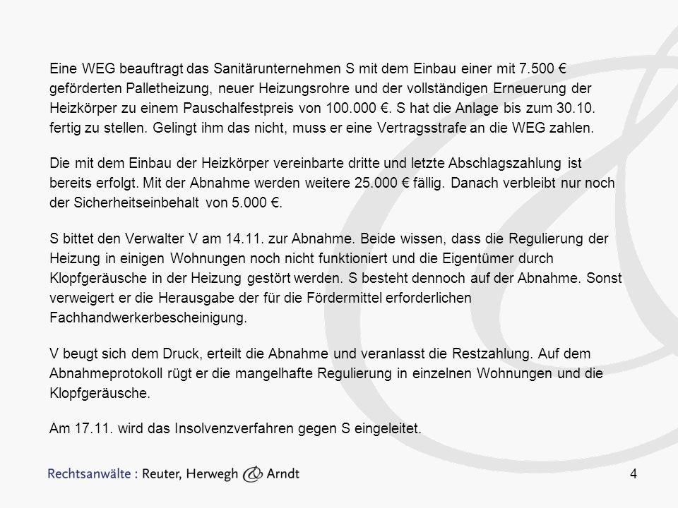 15 Besonderheiten beim Erwerb Grundlegende Entscheidungen des BGH –Urt.