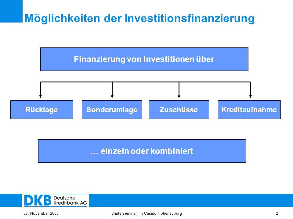 07. November 2008Winterseminar im Casino Hohensyburg2 Finanzierung von Investitionen über RücklageSonderumlageKreditaufnahme Möglichkeiten der Investi
