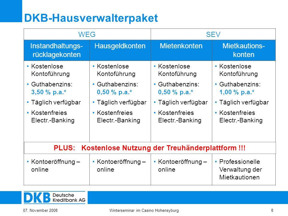 07. November 2008Winterseminar im Casino Hohensyburg8 DKB-Hausverwalterpaket WEGSEV Instandhaltungs- rücklagekonten HausgeldkontenMietenkontenMietkaut