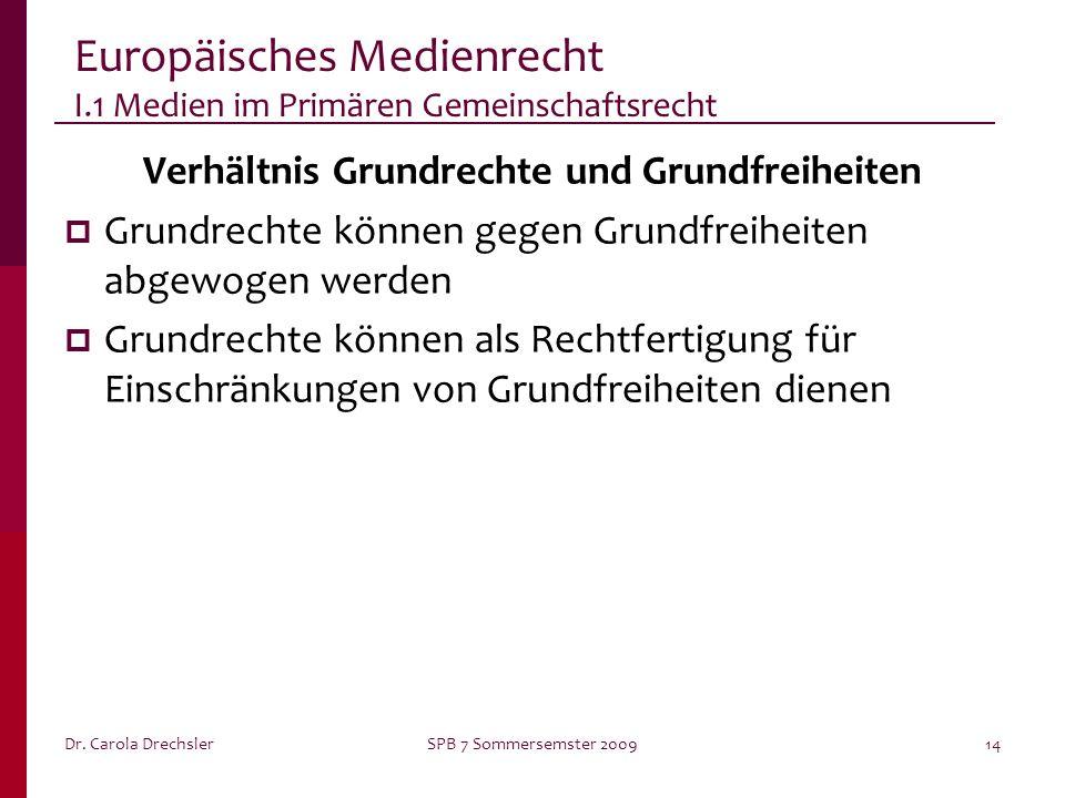 Dr. Carola DrechslerSPB 7 Sommersemster 200914 Europäisches Medienrecht I.1 Medien im Primären Gemeinschaftsrecht Verhältnis Grundrechte und Grundfrei