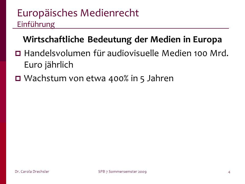 Dr. Carola DrechslerSPB 7 Sommersemster 20094 Europäisches Medienrecht Einführung Wirtschaftliche Bedeutung der Medien in Europa Handelsvolumen für au