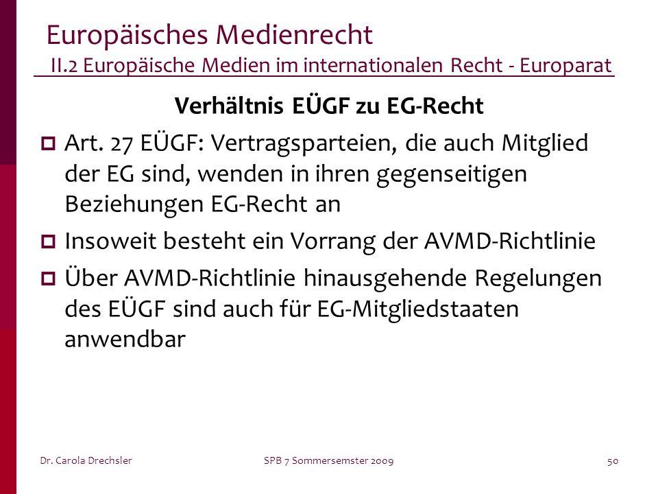 Dr. Carola DrechslerSPB 7 Sommersemster 200950 Europäisches Medienrecht II.2 Europäische Medien im internationalen Recht - Europarat Verhältnis EÜGF z