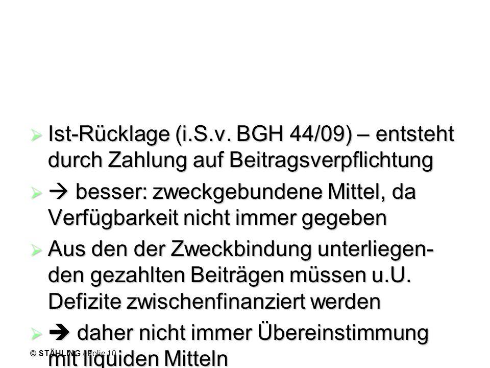 © STÄHLING / Folie 10 Ist-Rücklage (i.S.v. BGH 44/09) – entsteht durch Zahlung auf Beitragsverpflichtung Ist-Rücklage (i.S.v. BGH 44/09) – entsteht du