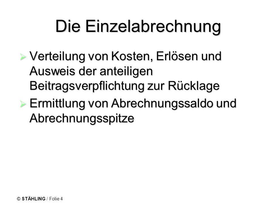 © STÄHLING / Folie 4 Die Einzelabrechnung Verteilung von Kosten, Erlösen und Ausweis der anteiligen Beitragsverpflichtung zur Rücklage Verteilung von
