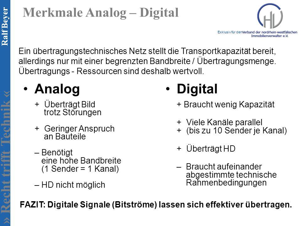 » Recht trifft Technik « Exklusiv für den Ralf Beyer Merkmale Analog – Digital Analog + Überträgt Bild trotz Störungen + Geringer Anspruch an Bauteile – Benötigt eine hohe Bandbreite (1 Sender = 1 Kanal) – HD nicht möglich Digital + Braucht wenig Kapazität + Viele Kanäle parallel + (bis zu 10 Sender je Kanal) + Überträgt HD – Braucht aufeinander abgestimmte technische Rahmenbedingungen Ein übertragungstechnisches Netz stellt die Transportkapazität bereit, allerdings nur mit einer begrenzten Bandbreite / Übertragungsmenge.