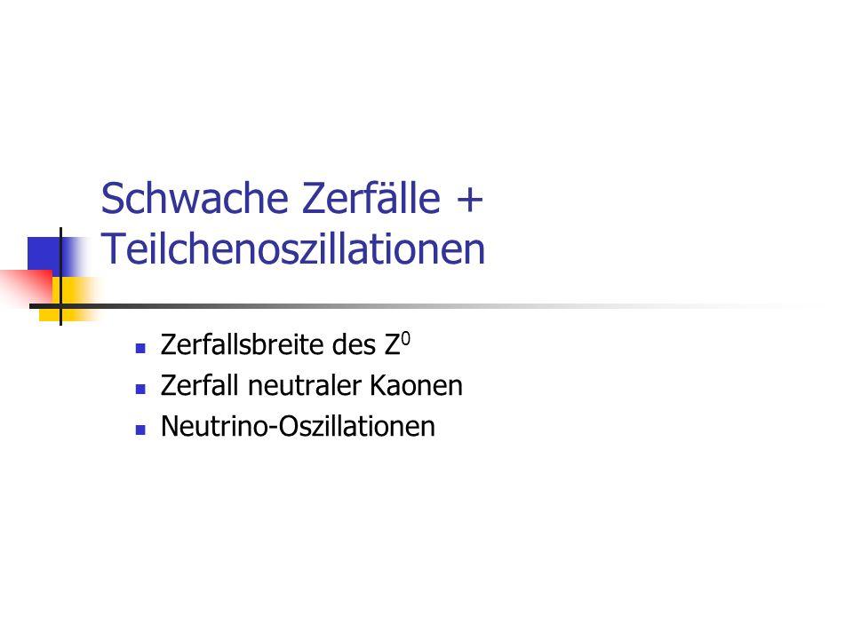Schwache Zerfälle + Teilchenoszillationen Zerfallsbreite des Z 0 Zerfall neutraler Kaonen Neutrino-Oszillationen