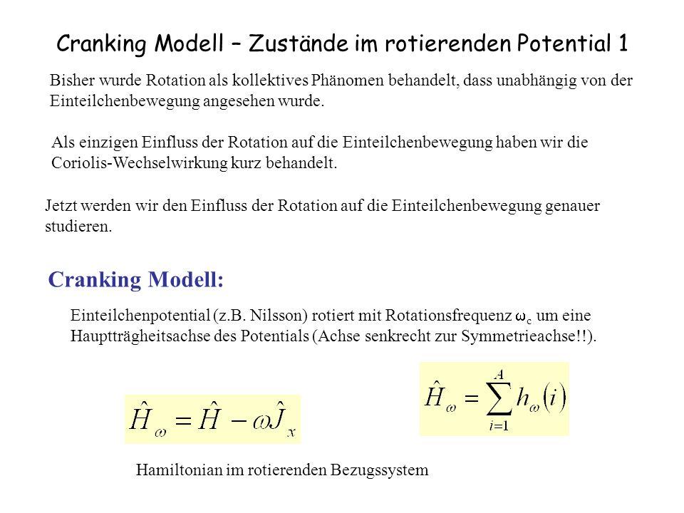 Cranking Modell – Zustände im rotierenden Potential 1 Bisher wurde Rotation als kollektives Phänomen behandelt, dass unabhängig von der Einteilchenbewegung angesehen wurde.