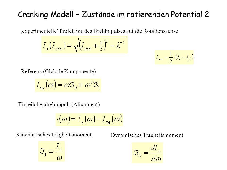 Cranking Modell – Zustände im rotierenden Potential 2 experimentelle Projektion des Drehimpulses auf die Rotationsachse Referenz (Globale Komponente)