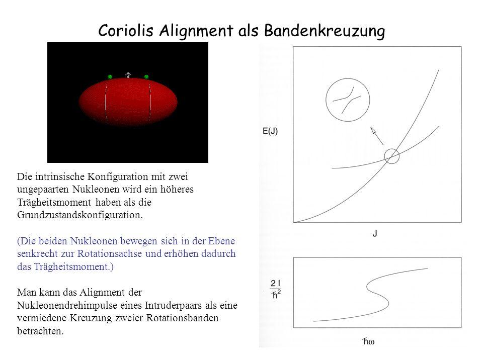 Coriolis Alignment als Bandenkreuzung Die intrinsische Konfiguration mit zwei ungepaarten Nukleonen wird ein höheres Trägheitsmoment haben als die Gru