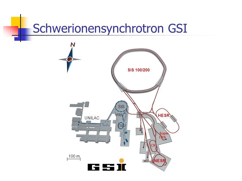 Schwerionensynchrotron GSI UNILAC SIS FRS ESR 100 m SIS 100/200 HESR Super FRS NESR CR