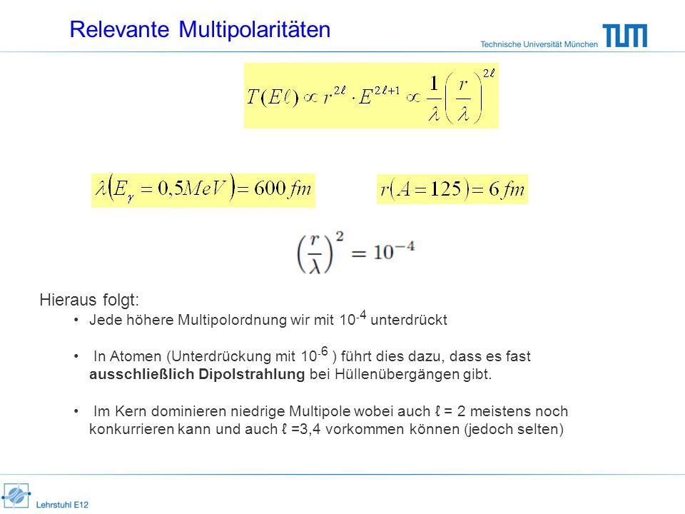Relevante Multipolaritäten Hieraus folgt: Jede höhere Multipolordnung wir mit 10 - 4 unterdrückt In Atomen (Unterdrückung mit 10 - 6 ) führt dies dazu