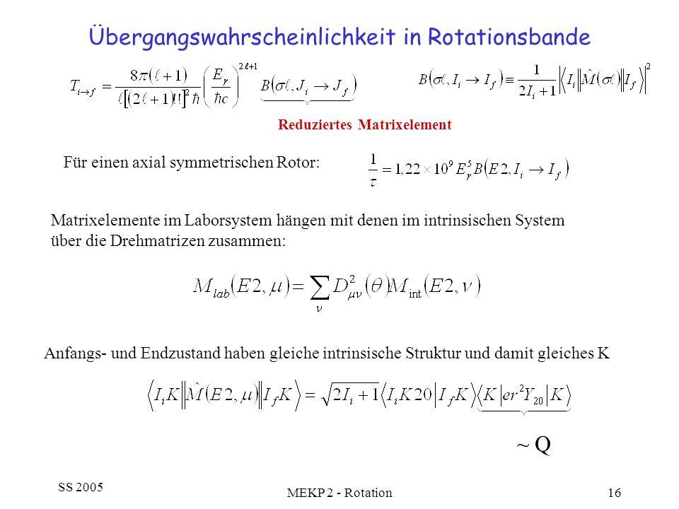 SS 2005 MEKP 2 - Rotation16 Übergangswahrscheinlichkeit in Rotationsbande Für einen axial symmetrischen Rotor: Reduziertes Matrixelement Matrixelement