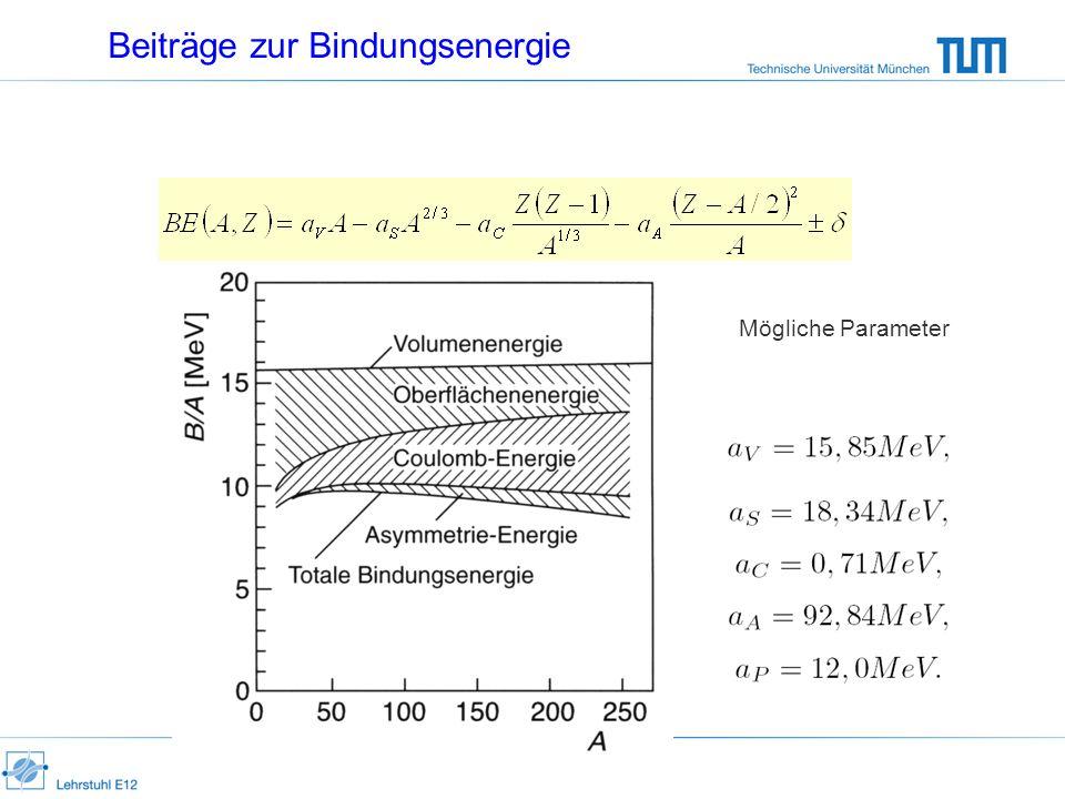 Beiträge zur Bindungsenergie Mögliche Parameter