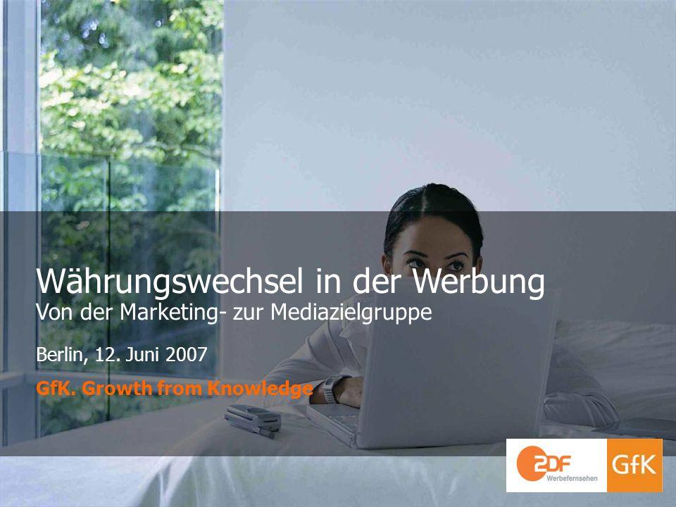 GfK GruppeGfK Fernsehforschung 12. Juni 2007 Integrated Intelligence Währungswechsel in der Werbung Von der Marketing- zur Mediazielgruppe Berlin, 12.